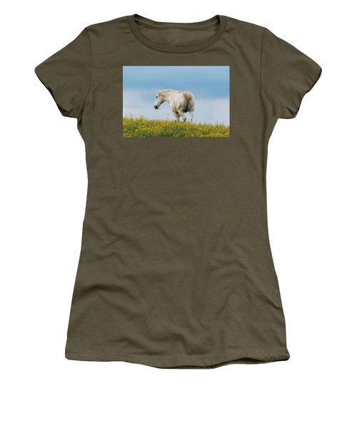 Women's T-Shirt featuring the photograph White Horse Of Cataloochee Ranch - May 30 2017 by D K Wall