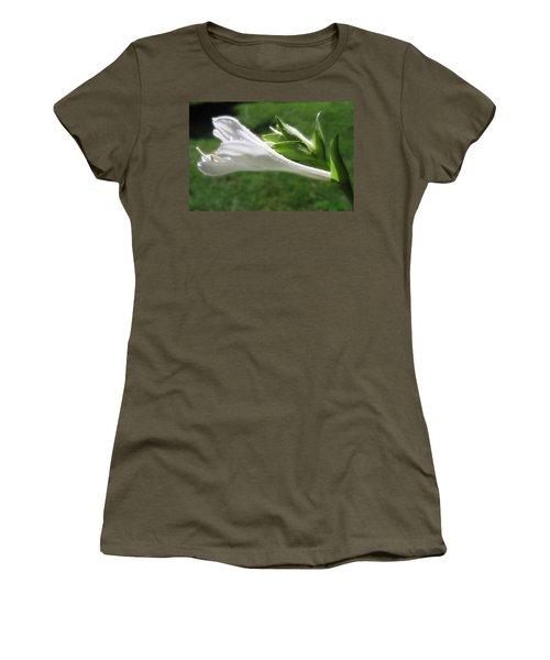 Women's T-Shirt (Junior Cut) featuring the photograph White Hosta Flower 46 by Maciek Froncisz