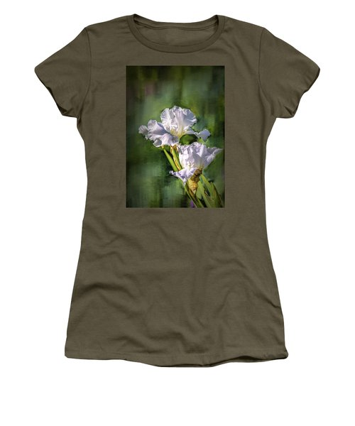 White Iris On Abstract Background #g4 Women's T-Shirt (Junior Cut)