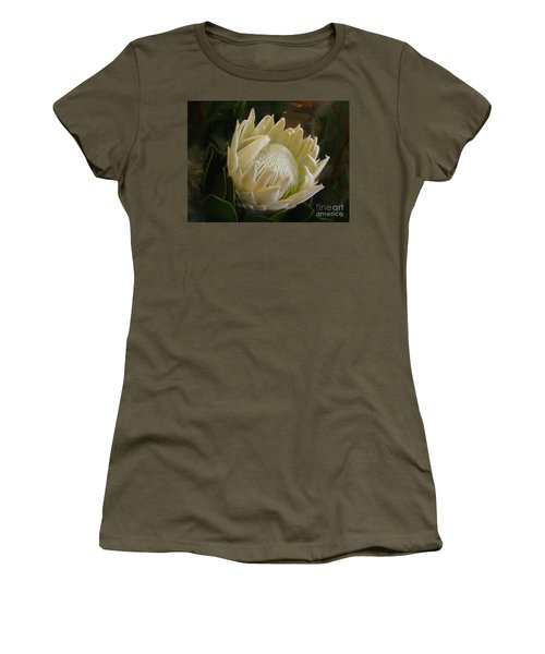 Women's T-Shirt (Athletic Fit) featuring the photograph White King Protea By Kaye Menner by Kaye Menner