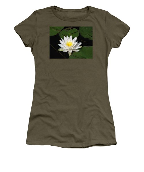White Lily Pad Women's T-Shirt (Athletic Fit)