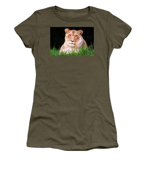 Women's T-Shirt (Junior Cut) featuring the photograph White Lion by Alexey Stiop