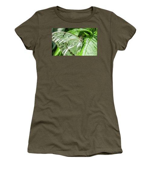 White Morpho Butterfly Women's T-Shirt (Junior Cut) by Joann Copeland-Paul