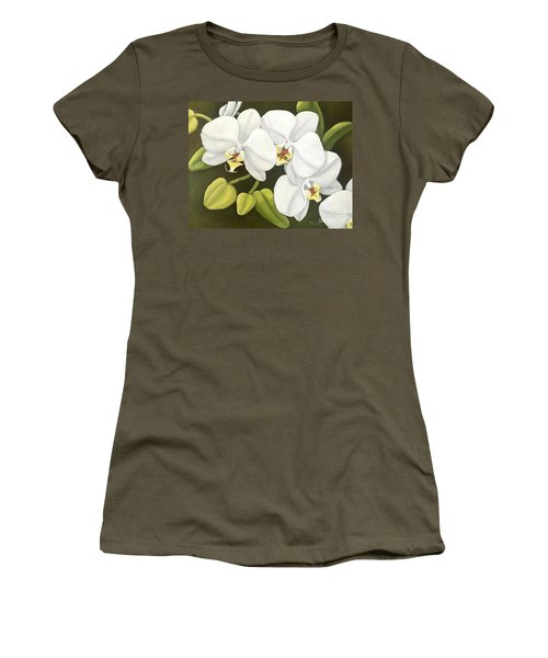 White Orchid Women's T-Shirt (Junior Cut) by Inese Poga