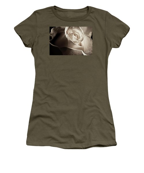 White Rose In Sepia 2 Women's T-Shirt (Junior Cut) by Micah May