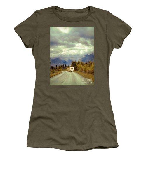 Women's T-Shirt (Junior Cut) featuring the photograph White Rv In Montana by Jill Battaglia