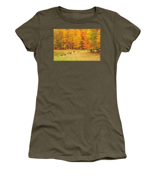 White Tail Deer Herd Women's T-Shirt (Junior Cut) by Terri Gostola