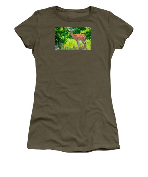 Women's T-Shirt (Junior Cut) featuring the photograph White-tailed Deer 2 by Brian Stevens