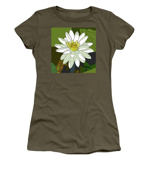 White Water Lily Women's T-Shirt (Junior Cut) by Jamie Downs