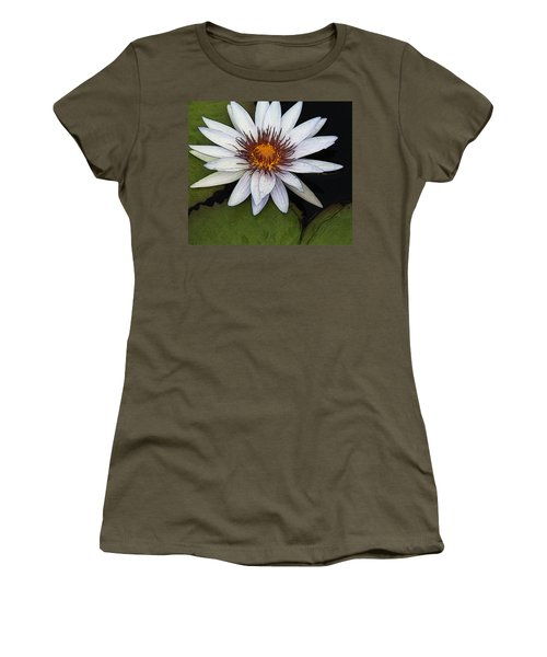 White Water Lily Women's T-Shirt (Junior Cut) by Yvonne Wright