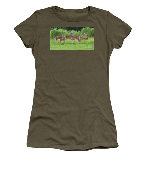 Whitetail Deer Gathering Women's T-Shirt (Athletic Fit)