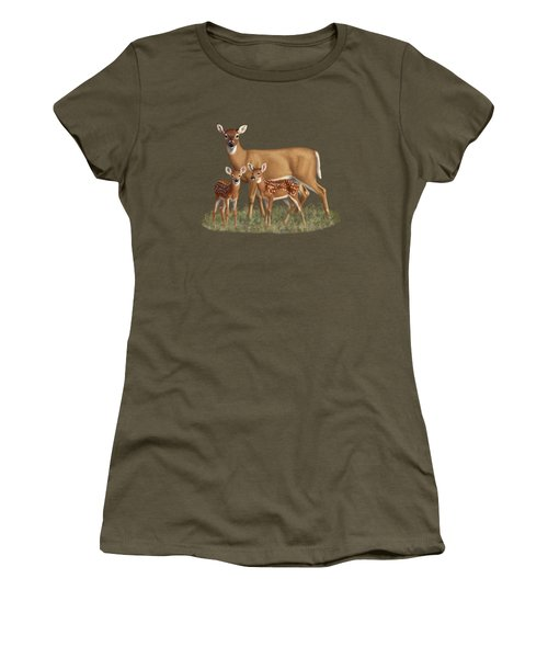 Whitetail Doe And Fawns - Mom's Little Spring Blossoms Women's T-Shirt (Junior Cut) by Crista Forest