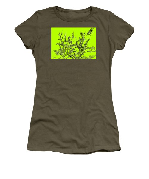 Whooshh -  Lime Background Women's T-Shirt (Junior Cut) by Charles Cater