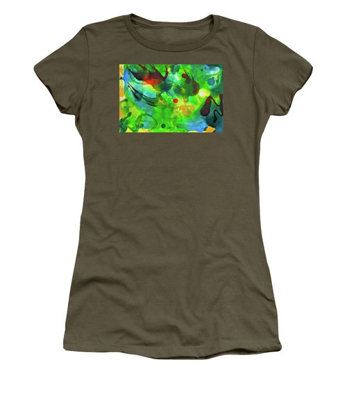 Women's T-Shirt (Athletic Fit) featuring the painting Widdy Fishy by Michele Myers
