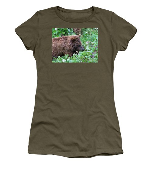 Wild Bear Eating Berries  Women's T-Shirt (Athletic Fit)
