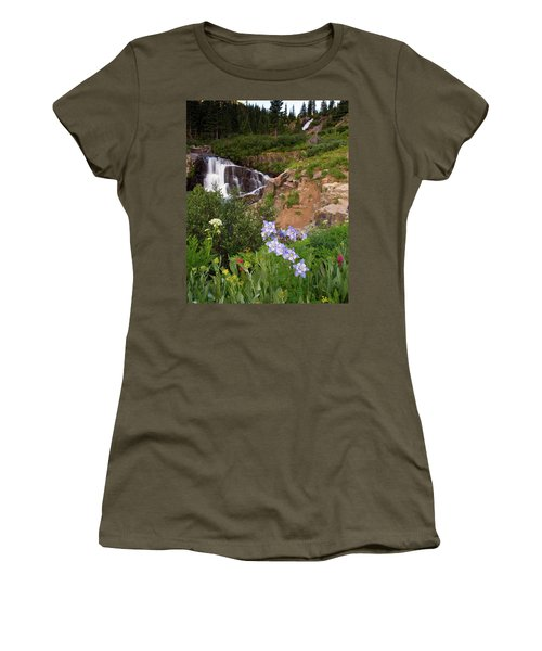 Wild Flowers And Waterfalls Women's T-Shirt (Athletic Fit)