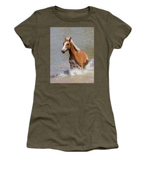 Wild Horse Splashing At The Water Hole Women's T-Shirt