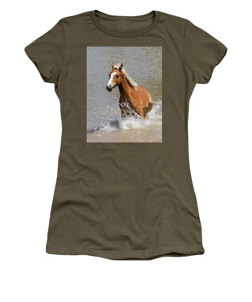 Wild Horse Splashing At The Water Hole Women's T-Shirt