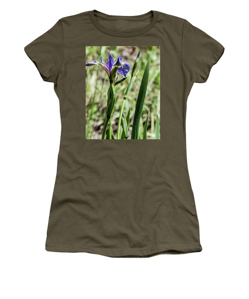 Women's T-Shirt (Junior Cut) featuring the photograph Wild Maine Iris by Daniel Hebard