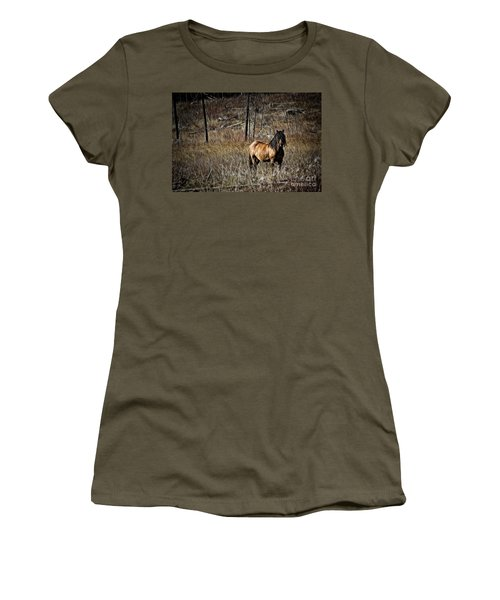 Women's T-Shirt (Athletic Fit) featuring the photograph Wild Mustang by Brad Allen Fine Art