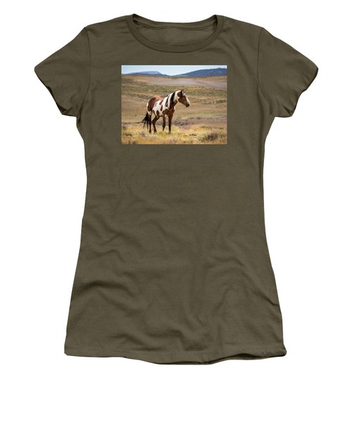 Wild Mustang Stallion Picasso Of Sand Wash Basin Women's T-Shirt (Athletic Fit)