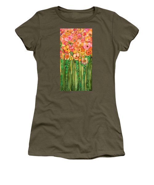Women's T-Shirt featuring the mixed media Wild Poppy Garden - Gold by Carol Cavalaris