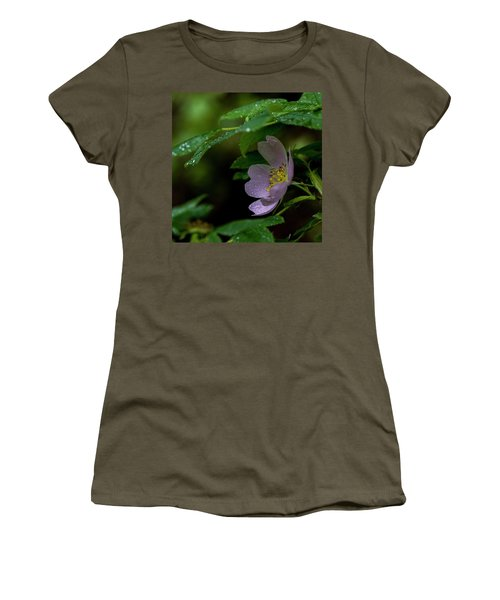 Women's T-Shirt (Junior Cut) featuring the photograph Wild Rose With Shelter by Darcy Michaelchuk