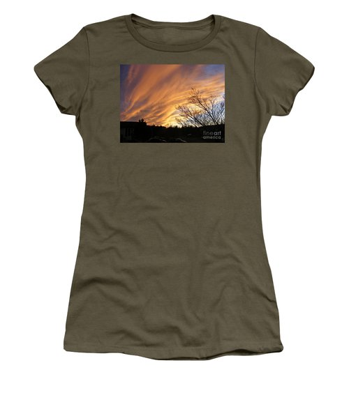 Women's T-Shirt (Junior Cut) featuring the photograph Wild Sky Of Autumn by Barbara Griffin