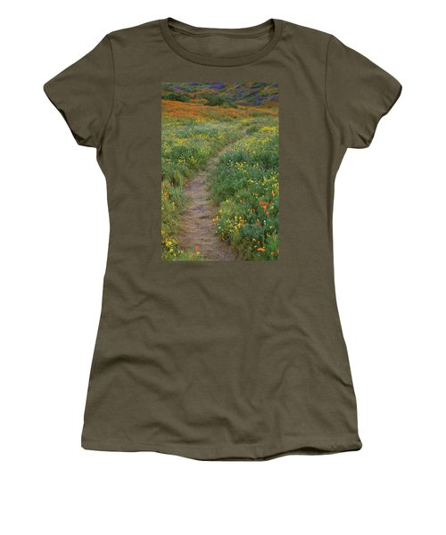 Women's T-Shirt (Junior Cut) featuring the photograph Wildflower Trail At Diamond Lake In California by Jetson Nguyen