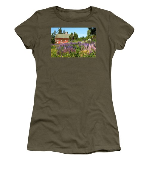 Wildflowers And Red Barn Women's T-Shirt (Junior Cut) by Roupen  Baker