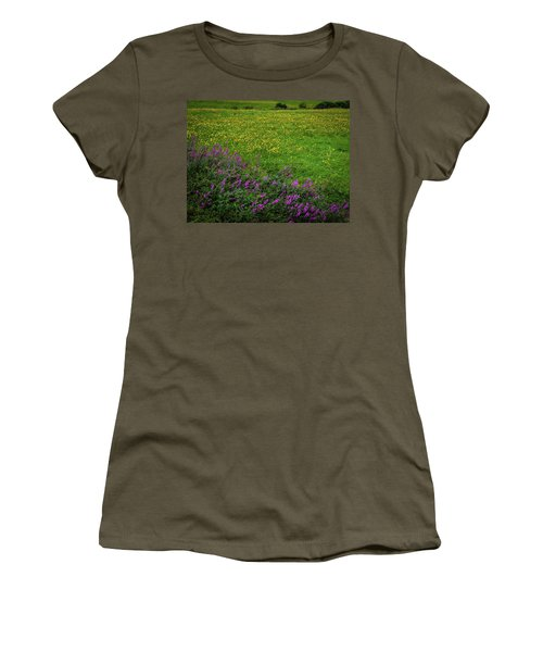 Women's T-Shirt (Athletic Fit) featuring the photograph Wildflowers In An Irish Field by James Truett