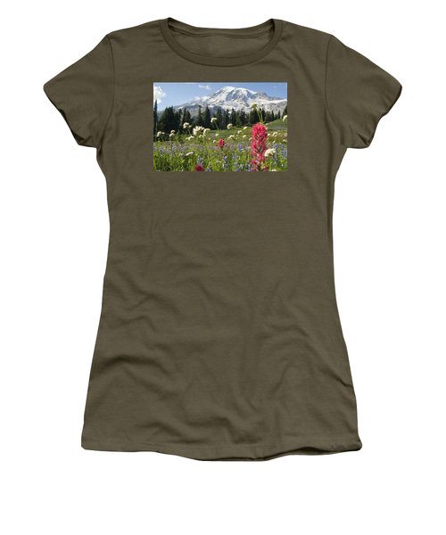 Wildflowers In Mount Rainier National Women's T-Shirt (Athletic Fit)