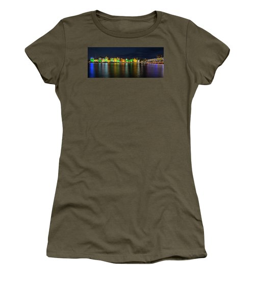 Women's T-Shirt (Athletic Fit) featuring the photograph Willemstad And Queen Emma Bridge At Night by Adam Romanowicz