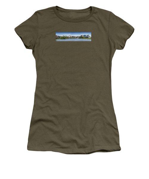 Wilmington Skyline Panorama - Delaware Women's T-Shirt (Junior Cut) by Brendan Reals