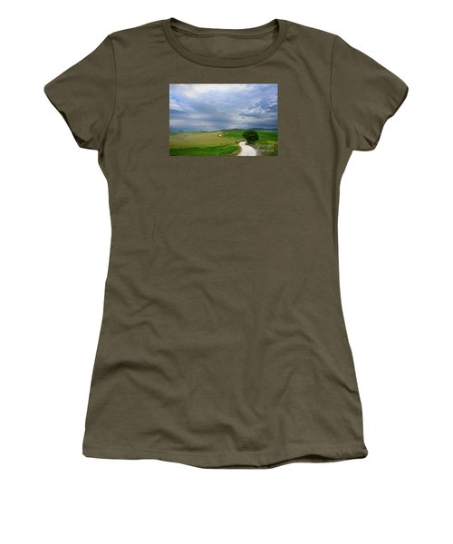 Winding Road To A Destination In A Tuscany Landscape Women's T-Shirt (Junior Cut)