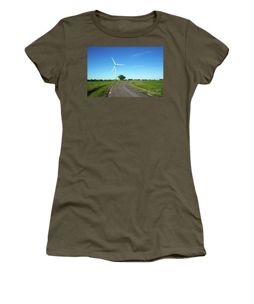 Women's T-Shirt (Athletic Fit) featuring the photograph Windmill By A Country Road Side by Kennerth and Birgitta Kullman