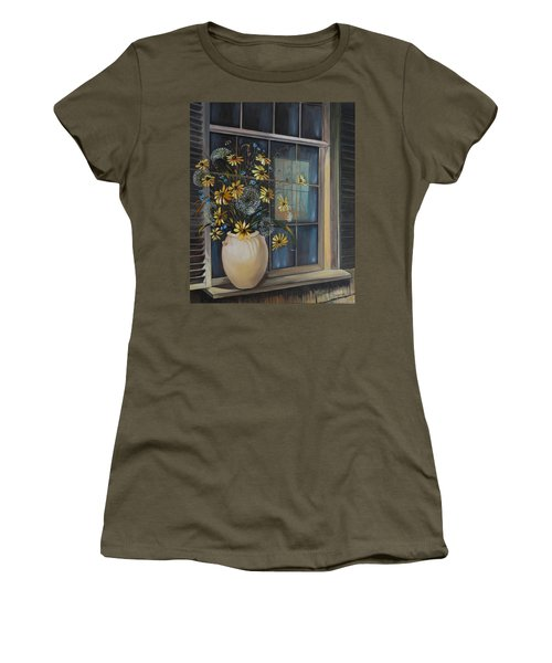 Women's T-Shirt featuring the painting Window Dressing - Lmj by Ruth Kamenev