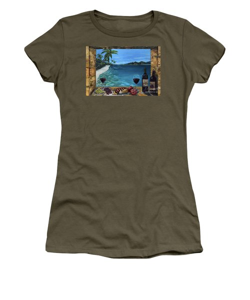 Women's T-Shirt (Athletic Fit) featuring the painting Wine Thirty - Oceanside by Jan Dappen