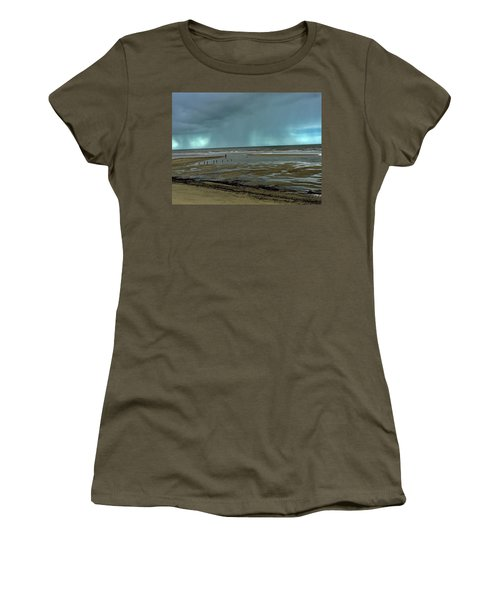 Women's T-Shirt featuring the photograph Winter Beach by Debbie Cundy