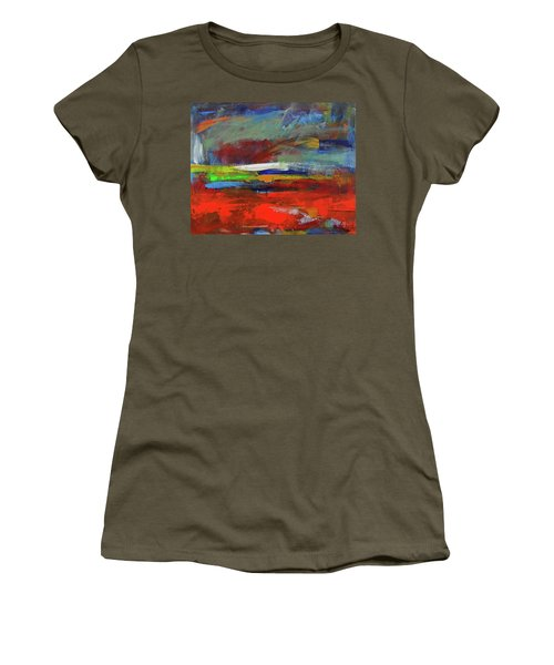 Women's T-Shirt (Athletic Fit) featuring the painting Winter Beginnings by Walter Fahmy