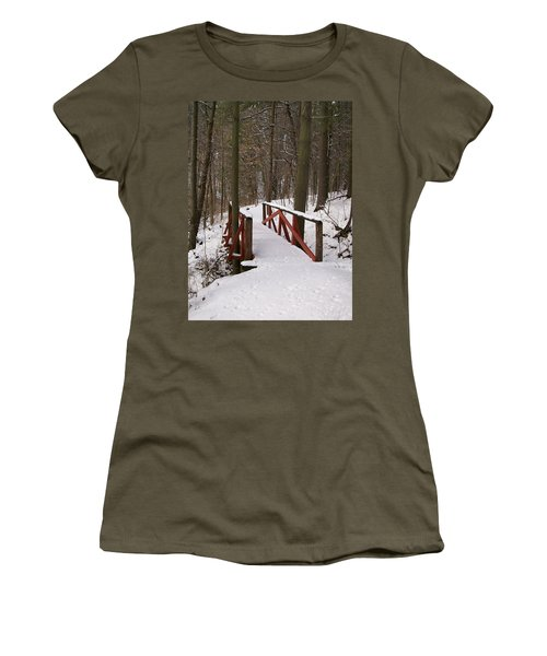 Winter Crossing Women's T-Shirt (Junior Cut) by Sara  Raber