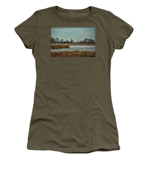 Women's T-Shirt (Junior Cut) featuring the photograph Winter On The Water by Tamera James