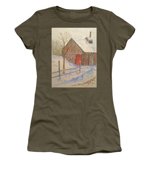 Winter Sugar House Women's T-Shirt (Junior Cut) by Stanton Allaben
