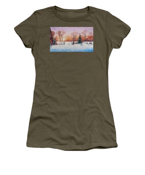 Women's T-Shirt (Junior Cut) featuring the painting Winter Sunrise by Geni Gorani
