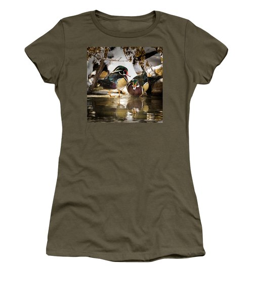 Winter Visitors - Wood Ducks Women's T-Shirt (Junior Cut)