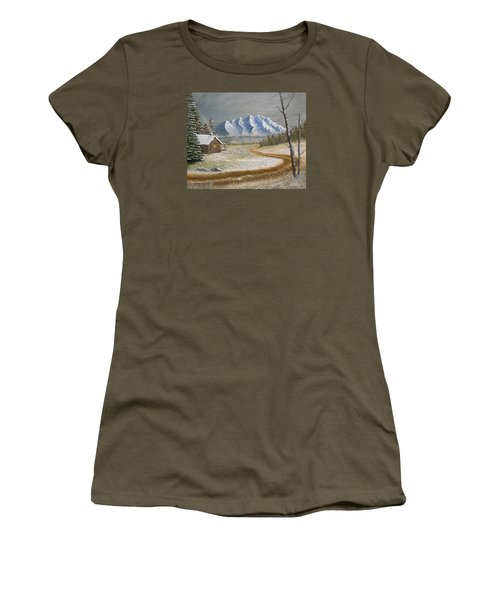 Women's T-Shirt (Junior Cut) featuring the painting Winter's Arrival by Sheri Keith
