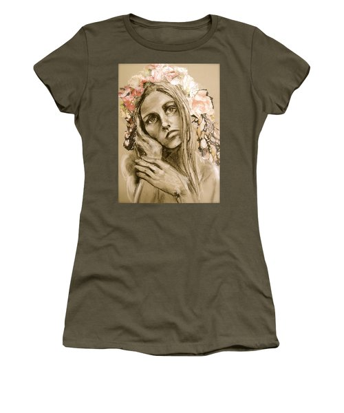 Women's T-Shirt (Junior Cut) featuring the drawing Within by Mary Schiros