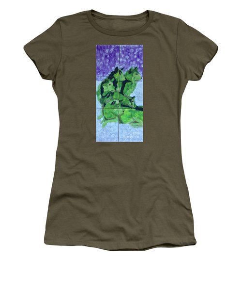 Women's T-Shirt (Athletic Fit) featuring the painting Green Pack Of Wolves by Donald J Ryker III