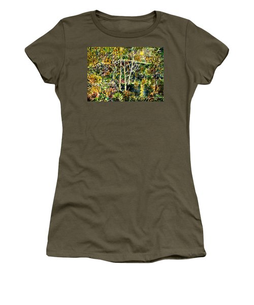 Women's T-Shirt (Junior Cut) featuring the painting Wolven Moon by Alfred Motzer