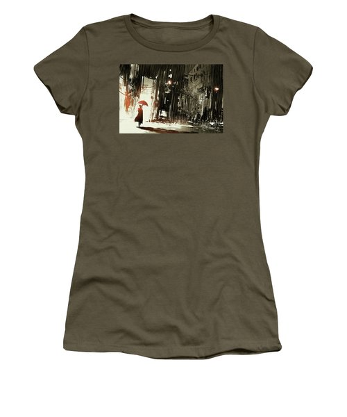 Women's T-Shirt featuring the painting Woman In The Destroyed City by Tithi Luadthong